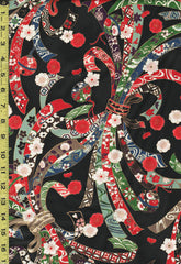 *Quilt Gate - Suzune Large Colorful Noshi Ribbons - HR3340-11E - Black