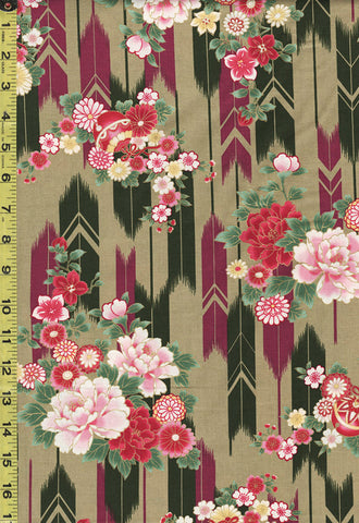 *Quilt Gate - Suzune Peonies & Arrows - HR3340-13C - Olive