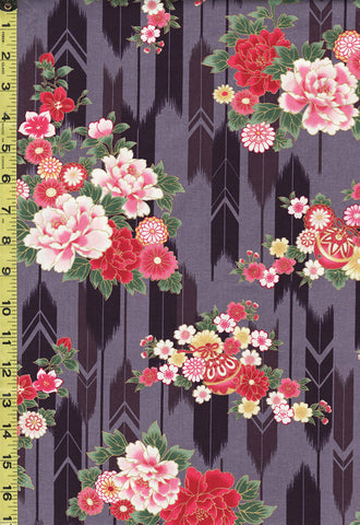 *Quilt Gate - Suzune Peonies & Arrows - HR3340-13D - Purple