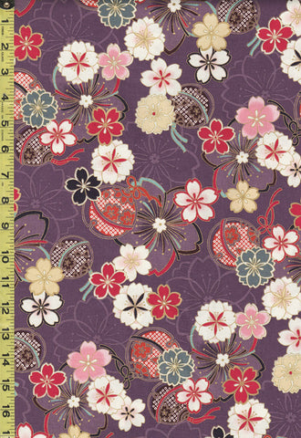*Quilt Gate - Suzune Floating Cherry Blossoms & Bells - HR3340-14D - Purple
