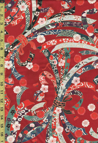 *Quilt Gate - Suzune Large Colorful Noshi Ribbons - HR3340-11C - Red