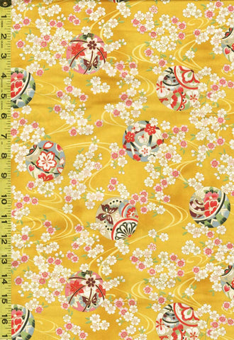 *Quilt Gate - Suzune Small Cherry Blossom Clusters and Temari Balls - HR3340-15B - Yellow