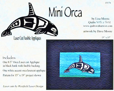 Quilt Pattern & Laser Cut Applique - Mini Orca - 8 inch - Black with White Accent # 15174