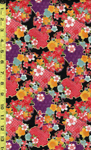 *Asian - Sakura Brook - Sevenberry Cherry Blossoms & Floral Medallions - Black