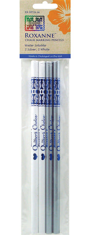 Notions -  Roxanne Quilter's Choice Marking Pencils - 2 White - 2 Silver
