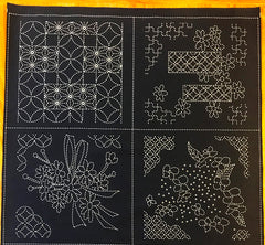 Sashiko Pre-printed Panel - Floral and Japanese Motif Designs - 8 Block Sampler - Dark Navy