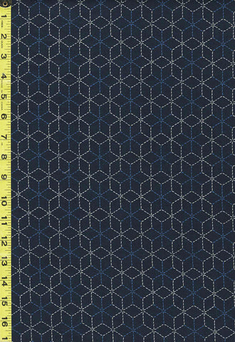 *Japanese - Sevenberry Kasuri Collection - Blue & White Sashiko-Like Stars - SB-83022D3-4 - Navy