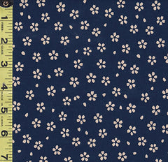*Japanese - Sevenberry Kasuri Collection - Small Floating Tan Cherry Blossoms - SB-88220D5-3 - Indigo/ Navy