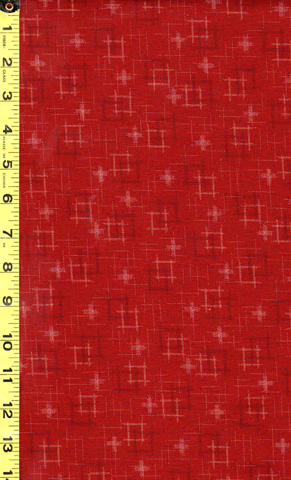 Japanese - Sevenberry Kasuri Collection - Floating Squares & Crosses - SB-88229D1-3 - Brick Red