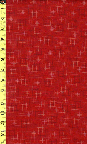 *Japanese Sevenberry - Kasuri Collection - Floating Squares & Crosses - SB-88229D1-3 - Brick Red