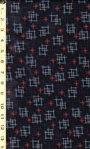 *Japanese - Sevenberry Kasuri Collection - Floating Squares & Crosses - 88229D1-6 - Midnight (Black)