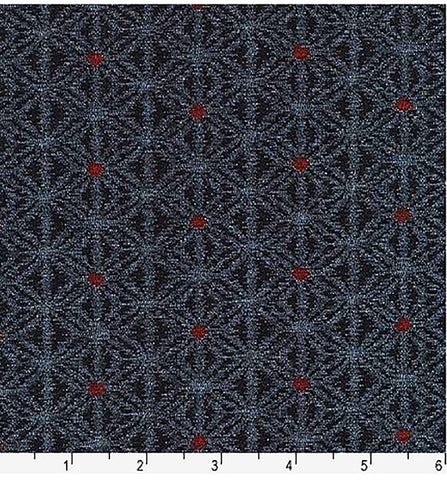 *Japanese - Sevenberry Kasuri Collection - Asanoha-like Motif with Red Center - SB-88229D3-4 - Indigo