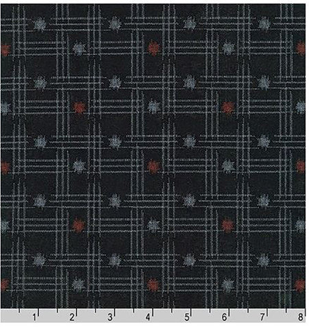 *Japanese - Sevenberry Kasuri Collection - Hatch Mark Grid & Dots - SB-88229D5-1 - Indigo