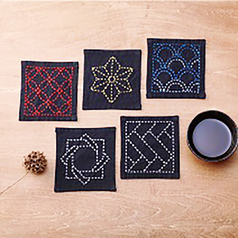 Sashiko Coaster Collection - Kofu-tsumugi Cloth Yarn Dyed - TC-1-Black