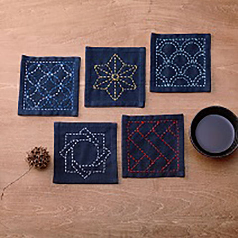 Sashiko Coaster Collection - Kofu-tsumugi Cloth Yarn Dyed - TC-2-Navy