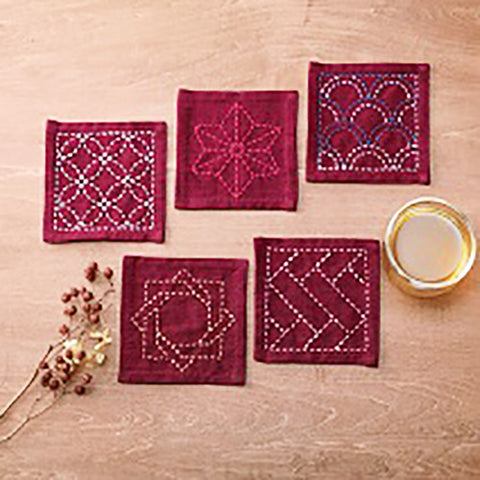 Sashiko Coaster Collection - Kofu-tsumugi Cloth Yarn Dyed - TC-3-Geranimum (Magenta)