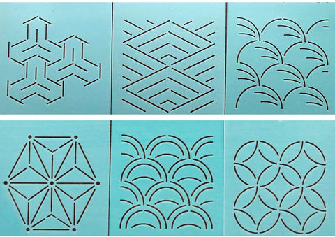 Sashiko Stencil - 4 Inch Stencil Assortment - Set of 6 Designs