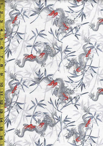 Japanese - Dragons and Bamboo - Dobby Weave - Light Grey