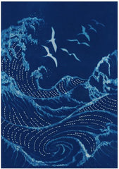 Sashiko - Cynotype Sashiko Panel - Seagulls & Waves