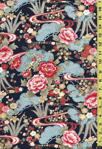 *Asian - Peonies, Pines, Mums & Water Ripples - SZ-0044 - Navy