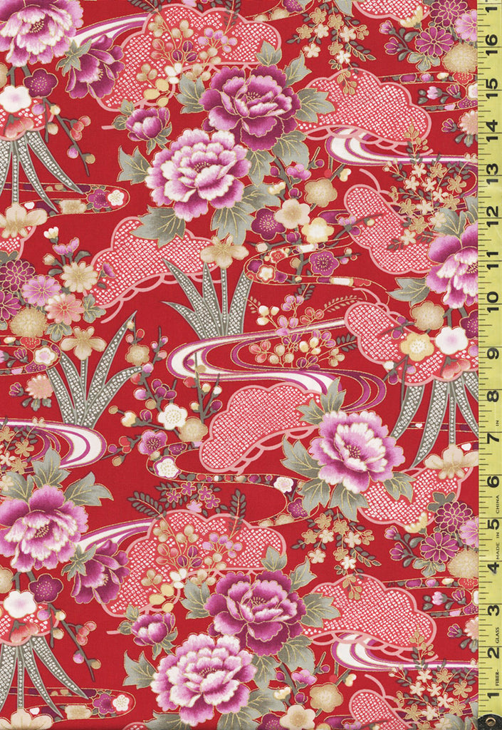 *Asian - Peonies, Pines, Mums & Water Ripples - SZ-0044 - Red