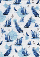 Novelty - Sailboats & Compass - White