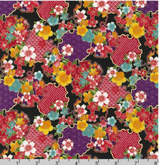 Asian - Sakura Brook - Sevenberry Cherry Blossoms & Floral Medallions - SB-850288D2-4 - Black