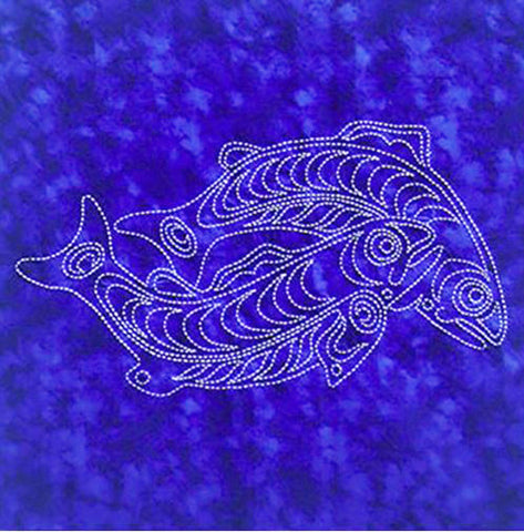 Sashiko - Pre-printed Sea Life Panel - Salmon