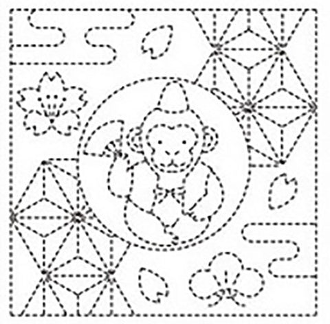 Sashiko Pre-printed Sampler - Monkey, Asa-no-ha & Cherry Blossoms # 1022 - White - ON SALE