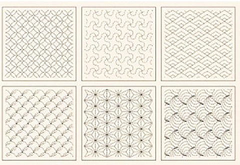 Sashiko Pre-printed Panel - 6 Block Traditional Design Sampler - Natural/ Ivory Kona Cotton