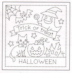 Sashiko Pre-printed Sampler - # 1023 Halloween Trick or Treat - White