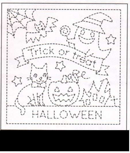 Sashiko Pre-printed Sampler - # 9023 Halloween Trick or Treat - Black