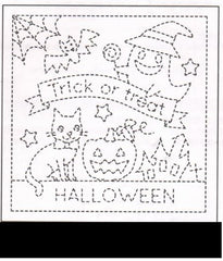 Sashiko Pre-printed Sampler - # 2023 Halloween Trick or Treat - Black