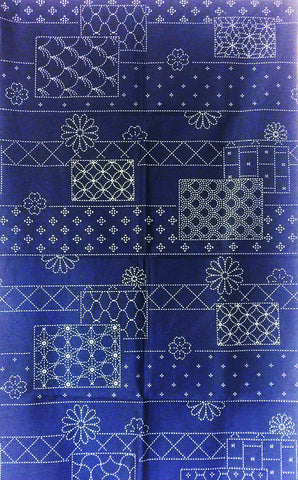 Sashiko Pre-printed Panel - Floating Flower & Multi-pattern Blocks - Dark Navy