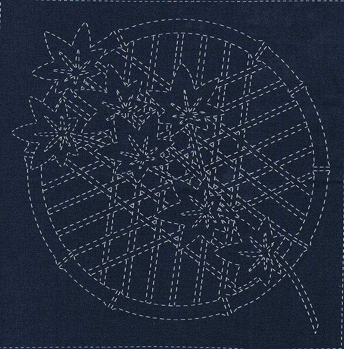Sashiko Pre-printed Sampler - # SC0017-03 - Momiji (Maple Leaves) - Navy