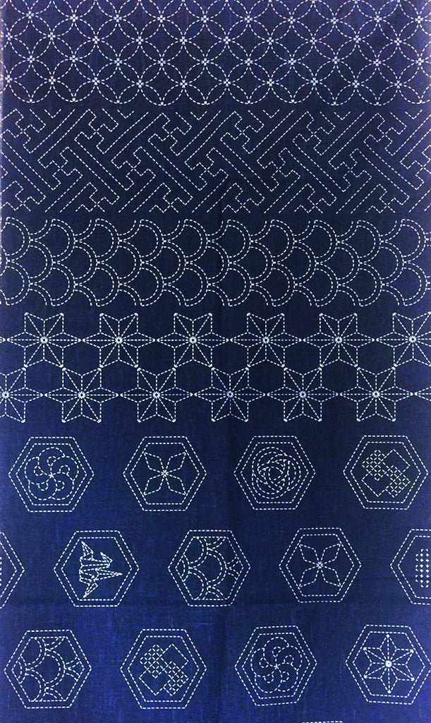 Sashiko Pre-printed Panel - Hexagon Crests & Traditional Motifs - Dark Navy