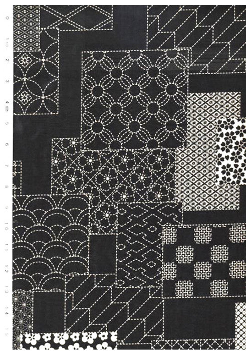 Japanese - Wagara Sashiko Motif Blocks - Black