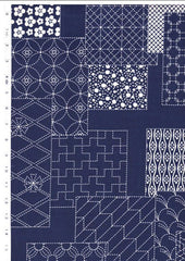 Japanese - Wagara Sashiko Motif Blocks - Navy