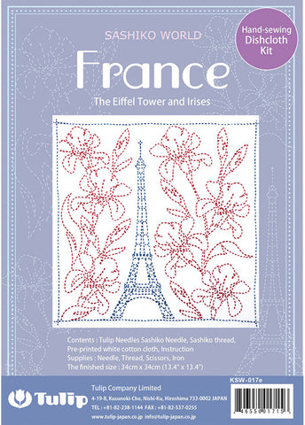 Sashiko World - Tulip Co - Eiffel Tower & Irises with Needle & Thread