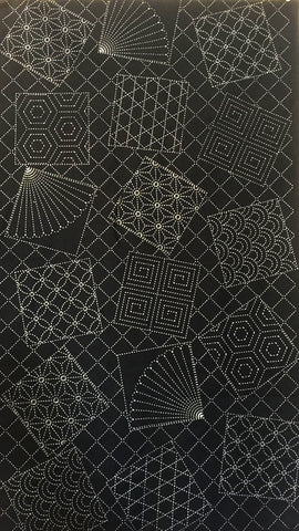 Sashiko Pre-printed Panel - Fans & Tumbling Blocks with Traditional Sashiko Motifs - Black