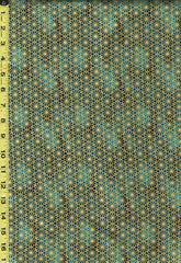 Quilt Gate - Suzune Gold Metallic Stylized Flower - HR3340-16C - Green-Teal