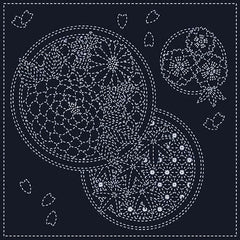 Sashiko Pre-printed Sampler - SC0018-12 - Seasons - Navy