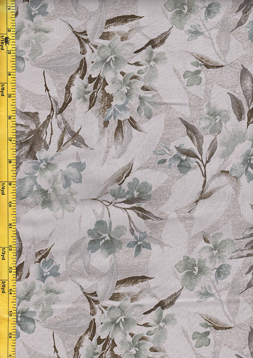 Taupe Fabrics - Diawabo Taupe - Floral Bouquets - Soft Blue Grey  - # 90223-KB