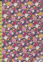 Japanese - Sevenberry Small Cherry Blossoms & Peonies on Diagonal Ribbons - 850184 D2-3 - Navy