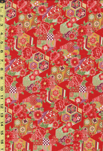 Japanese - Sevenberry Colorful Floral Hexagons - 850274 3-1 - Red