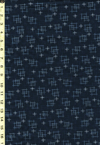 *Japanese - Sevenberry Kasuri Collection - Floating Squares & Gray Crosses - SB-88229D1-4 - Navy