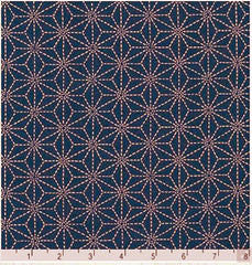 "*Japanese - Sevenberry Kasuri Collection - Tan Asanoha (2"") - SB-88220D3-3 - Indigo"