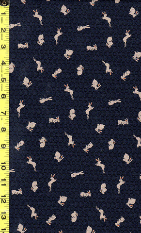 *Japanese - Sevenberry Kasuri Collection - Tiny Bunnies & Waves - SB-8827D4-4-Indigo