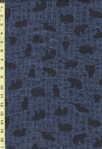 Japanese - Sevenberry Cat Shadows & Kanji - 850310-1-1 - Navy