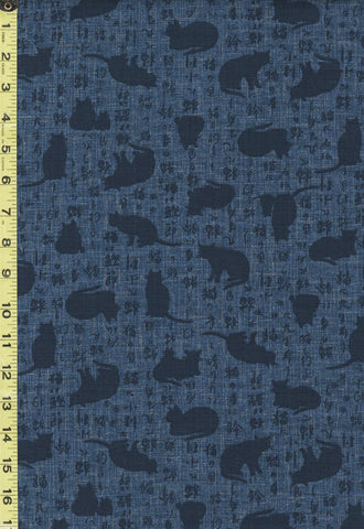 Japanese - Sevenberry Cat Shadows & Kanji - 850310-1-2 - Dark Denim